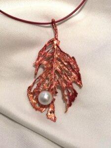 桜の葉ブローチペンダント