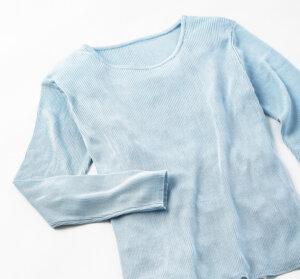 シルク100%丸首セーター